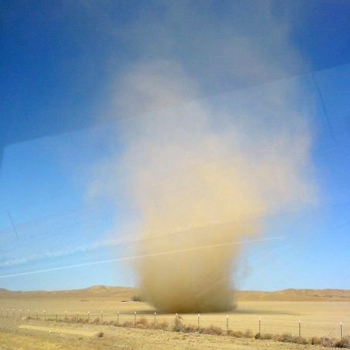 "A ""dust devil"" in California's Central Valley."