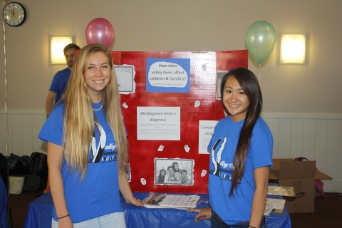 Dr. Erin Gaab and Research Assistant Crystal Bui educate participants about pediatric patients' perspectives