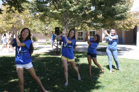Valley Fever research assistants take a break to continue their flashmob moves outside